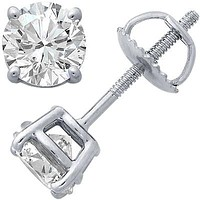 Platinum Four-Prong Diamond Stud Earrings