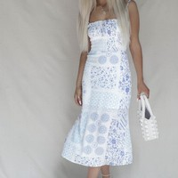 Round Trip Blue Smocked Patchwork Midi Dress