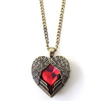 Heart Locket Necklace, Love Gift, Topaz Filigree Wing LOCKET, Antiqued Locket, Victorian Style Locket, Red, Antique Jewelry, Gift for Lover = 1652966084