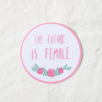 """""""The Future Is Female"""" Pink Sticker"""