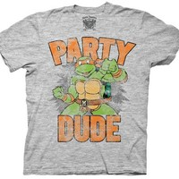 TMNT Teenage Mutant Ninja Turtles Party Dude Gray T-shirt  - Teenage Mutant Ninja Turtles - | TV Store Online