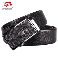 Men Crocodile Pattern Belt First layer Genuine Leather Automatic Buckle belts Strap Dragon High Quality
