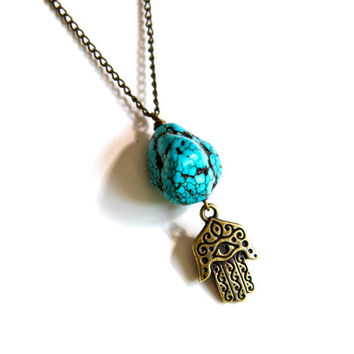 Summer Sale:Turquoise Stone Hamsa Necklace