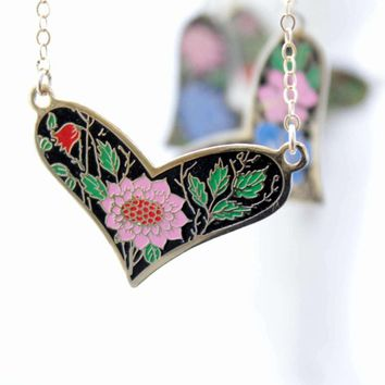Heart Necklace, Cloisonne Enamel Heart Pendant, Cloisonne Heart Necklace, Colorful Floral Heart Necklaces, Gifts For Mom, Gifts for Her