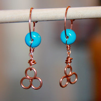 Copper Turquoise Hoop Earrings- Rustic Copper Hoops-Shiny Boho Hoops-Hammered Copper Circles with Turquoise-Rustic Hoops- Birthday Gift