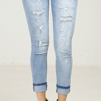 Cuffed Skinny Ripped Cropped Jeans