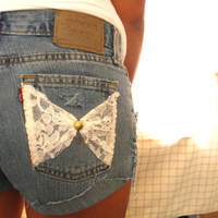 Lacey Distressed Jean Shorts with Lace Bow Pockets