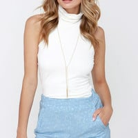 Ice Cream Social-ite Light Blue Lace Shorts