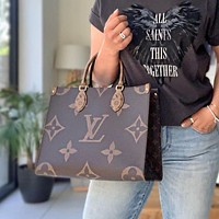 Louis Vuitton LV Women Trendy Shopping Leather Tote Handbag Shoulder Bag