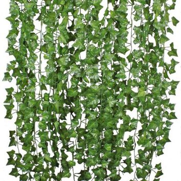 Coolmade 84FT 12 Strands Artificial Flowers Greenery Fake Hanging Vine Plants Leaf Garland Hanging for Wedding Party Garden Outdoor Office Wall Decoration - Walmart.com