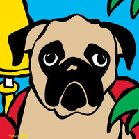 Pug in Red Chair Print