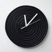 Black Clock, Black WALL CLOCK Black home decor minimalist  black and white wall clock