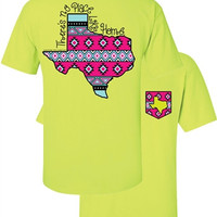Southern Couture Texas Aztec State Pattern Faux Pocket Girlie Bright T Shirt