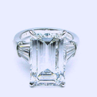 11.08ct GIA Emerald cut Diamond Engagement Platinum Rings and wedding Ring  JEWELFO0RME BLUE