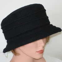 Hat -  Black  - many colors - every size handmade boiled wool -