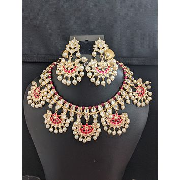 Chandbali dangle Kundan Choker Necklace and Earrings set