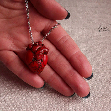 Anatomical Heart Necklace, Anatomical Human Heart Pendant, Halloween Jewelry, Polymer Clay