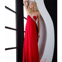 Jasz Couture 2014 Prom Dresses - Red Chiffon & Sequin Strapless Prom Dress