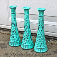 Vase /Painted /Bright Aquamarine  Painted Vase Set /Vintage /Shabby Chic /Modern /Distressed /Trendy Color /Painted Glass /Painted Vases
