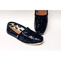 Navy Blue Starlight Sequin Slip On Shoes