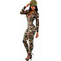 Jumpsuit Camouflage Women Rompers The Army Soldier Catsuit Long Sleeve Bodycon  Overall For Women
