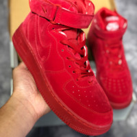 DCCK N459 Nike Air Force 1 AF1 LV8 LTR High Suede Fashion Casual Skate Shoes Red