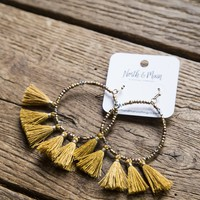 Beaded Hoop Tassel Earrings, Dark Mustard