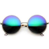 Women's Oversize Retro Round Metal Mirrored Lens Sunglasses 9729