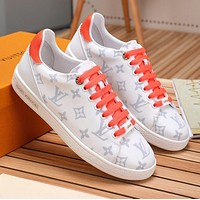 Wearwinds LV Louis Vuitton Fashion Women Casual Leather Sport Shoes Sneakers Orange