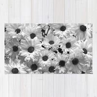Daisy Chaos in Black and White Rug by Micklyn