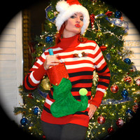 Large Wine Holder Ugly Christmas Sweater striped with elf stocking