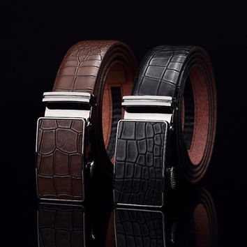 Automatic Buckle Genuine Leather Belts - 2 Colors