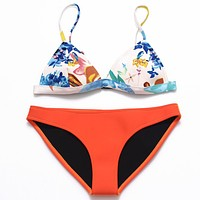 Fashion Beach Multicolor Print Neoprene Strap Bikini Swimwear Set Two-Piece