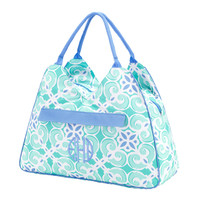 Personalized Sea Green & Blue Pattern Beach Bag. Initial, Monogram or Plain.