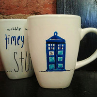 Doctor Who  Tardis Blue coffee or tea mug with by ontheMantle
