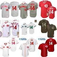 Red white grey Throwback Pete Rose Authentic baseball Jersey , Men's #5 Mitchell And Ness Cincinnati Reds stitched
