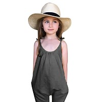 1 Piece Baby Girls Clothes Set Summer Sleeveless Trousers Sun suit Children Kids Jumpsuit Costumes Set Grey Yellow