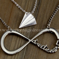 Infinity One Direction Forever Directioner Necklace and Paper Airplane Necklace, Harry Styles, 2 necklaces