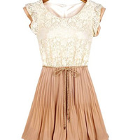 Lace Short Sleeve Mini Dress With Belt