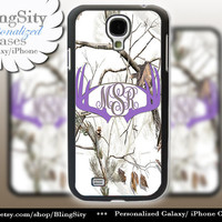Monogram Galaxy S4 case S5 Purple Antlers Real Tree Camo White Deer Personalized Browning Samsung Galaxy S3 Case Note 2 3  Country Girl