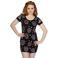 Day of the Dead Flower Sugar Skull Allover Cut Out Shoulder Top