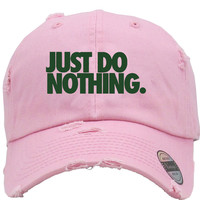 JUST DO NOTHING Distressed Baseball