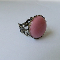 filigree ring big pink stone by JewelrybyDecember67 on Etsy