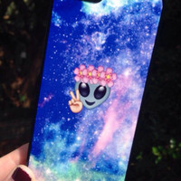 Iphone 5 5S Phone Case Emoji Alien Print Hipster Phone Cover