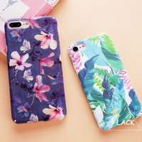 Fashion Colorful Flower Plants Leaves Case For iphone 7 Case Cute Cartoon Cat Leaf Back Cover Phone Cases For iphone7 6 6S PLus -0315