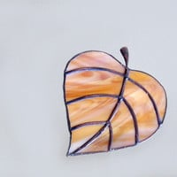 Autumn Leaf Night Light Stained Glass by FleetingStillness on Etsy