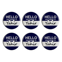 Yahir Hello My Name Is Plastic Resin Button Set of 6
