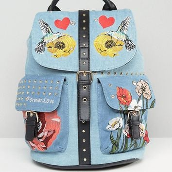 River Island Embroidered And Studded Detail Pocket Backpack at asos.com