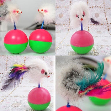 1pc Pet Cats Gifts Fun Tumbler Ball Toys Small Lovely Mouse Toys Play Chew Toys = 1930105732