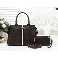 COACH Fashion Women Shopping Leather Handbag Tote Shoulder Bag Crossbody Satchel Set Two Piece 3#